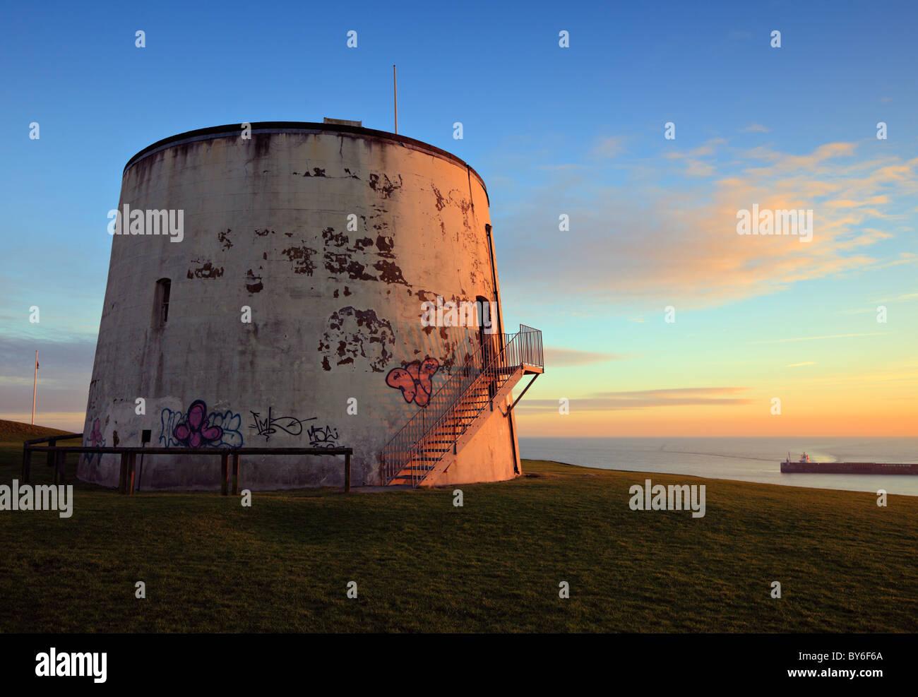 Martello tower No3 overlooking Folkestone. - Stock Image
