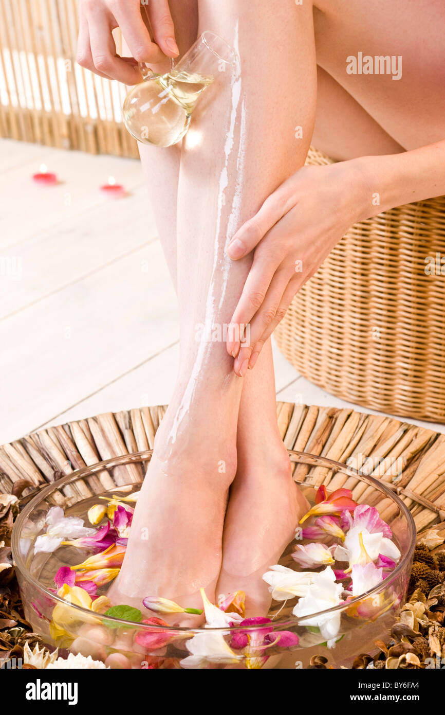 Woman doing home spa treatment for feet Stock Photo