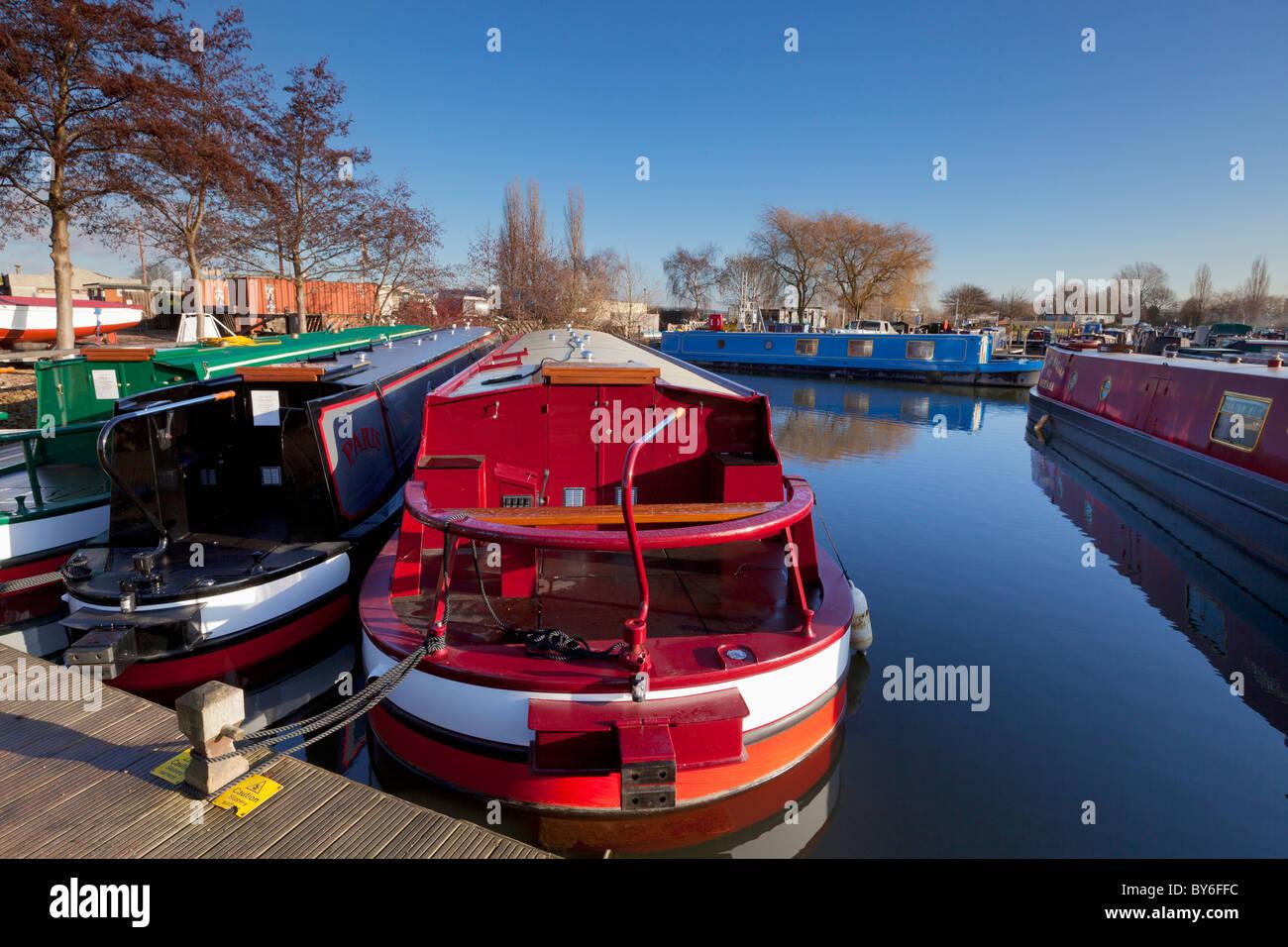 Narrow boats at Sawley marina Derbyshire England UK GB EU Europe - Stock Image