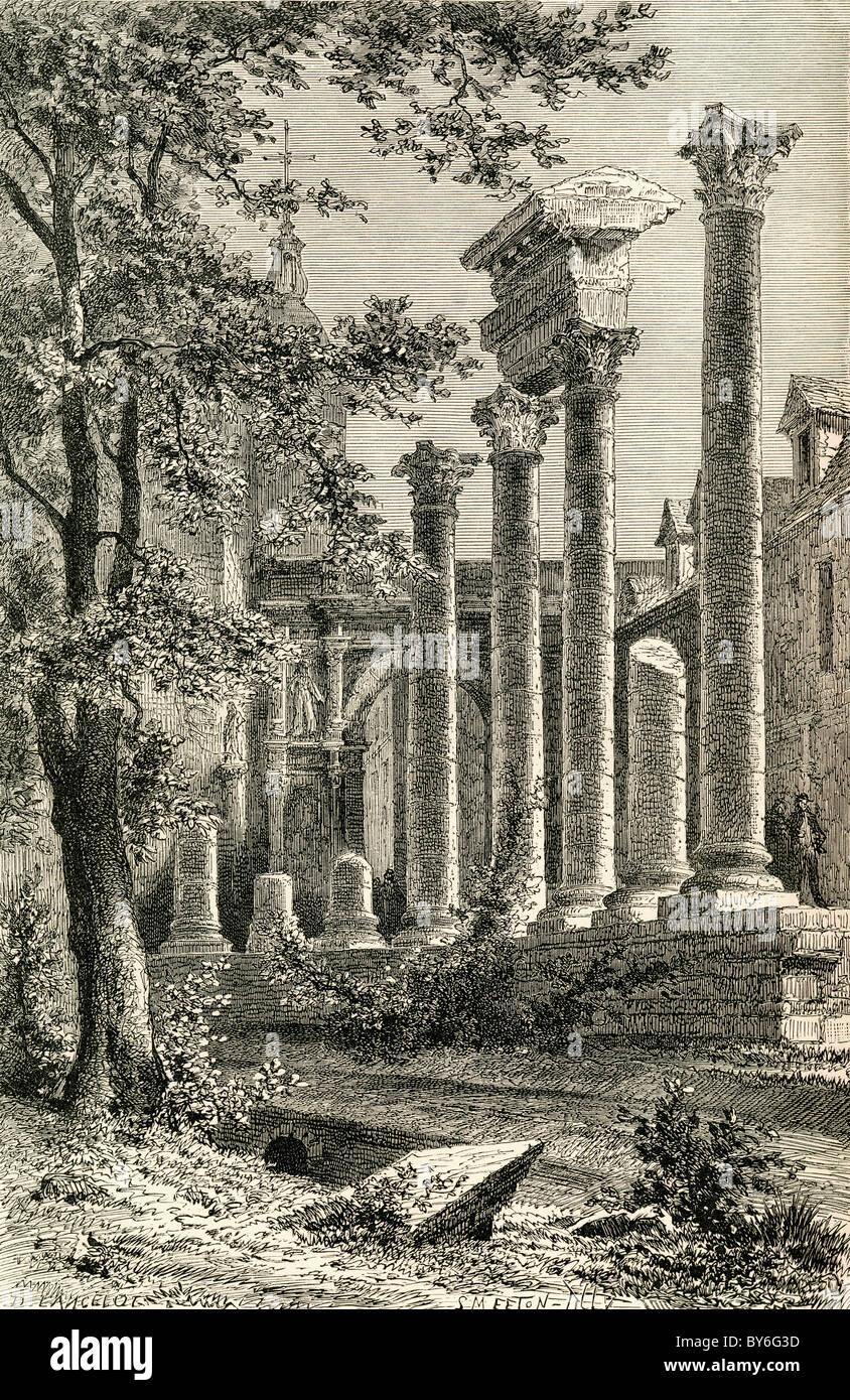 The Roman Theatre, Besançon, France in the19th century. - Stock Image