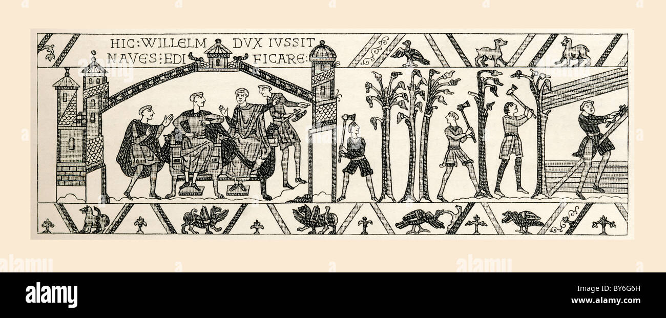 Scene from Bayeux Tapestry. King William and advisers plan invasion of England.  Men begin felling trees for boat - Stock Image