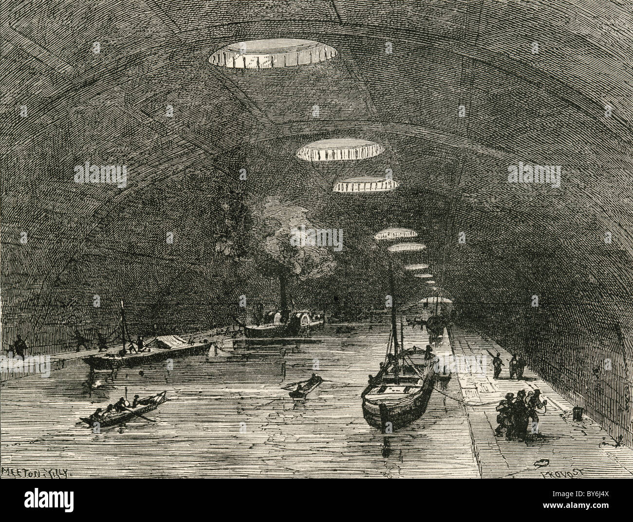 Canal Saint Martin, Paris, France, passing under the eastern part of the city, in the 19th century. - Stock Image