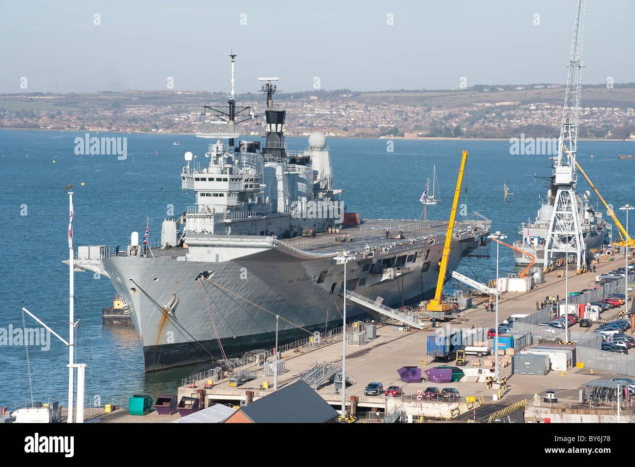 HMS Ark Royal in Portsmouth Royal Dockyard - Stock Image