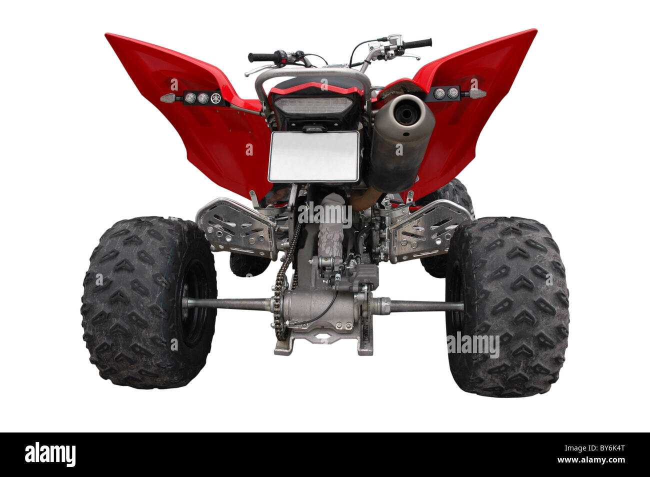 back view of atv quad-bike isolated - Stock Image