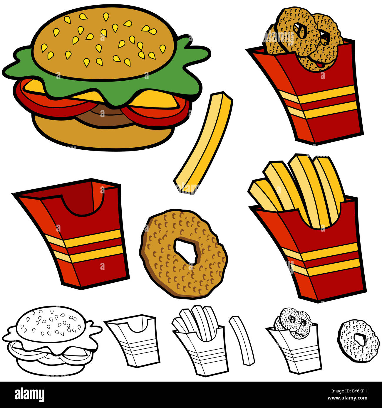 cartoon burger fries onion rings set isolated on a white background