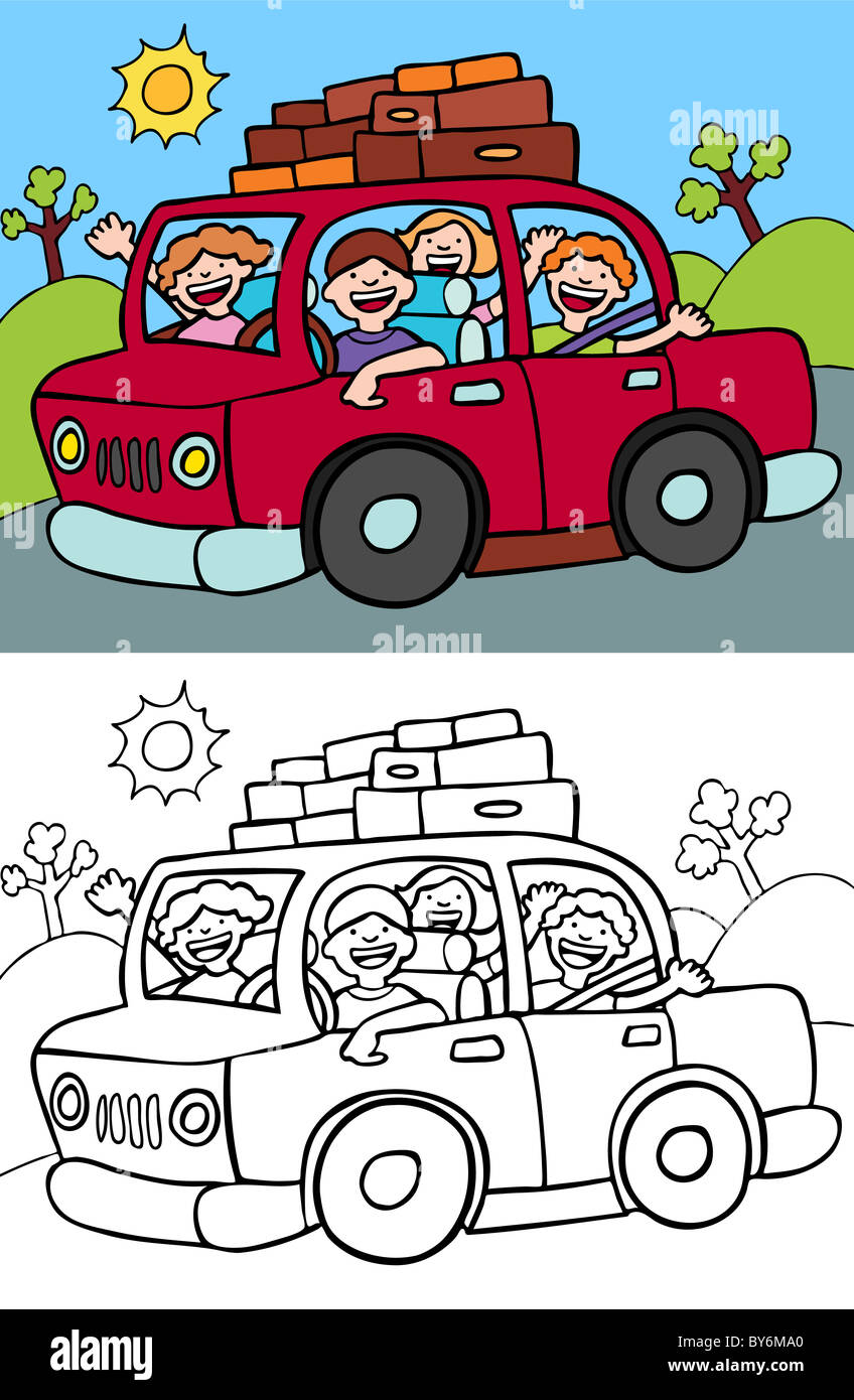 Cartoon image of a family taking a trip in their car - both color ...