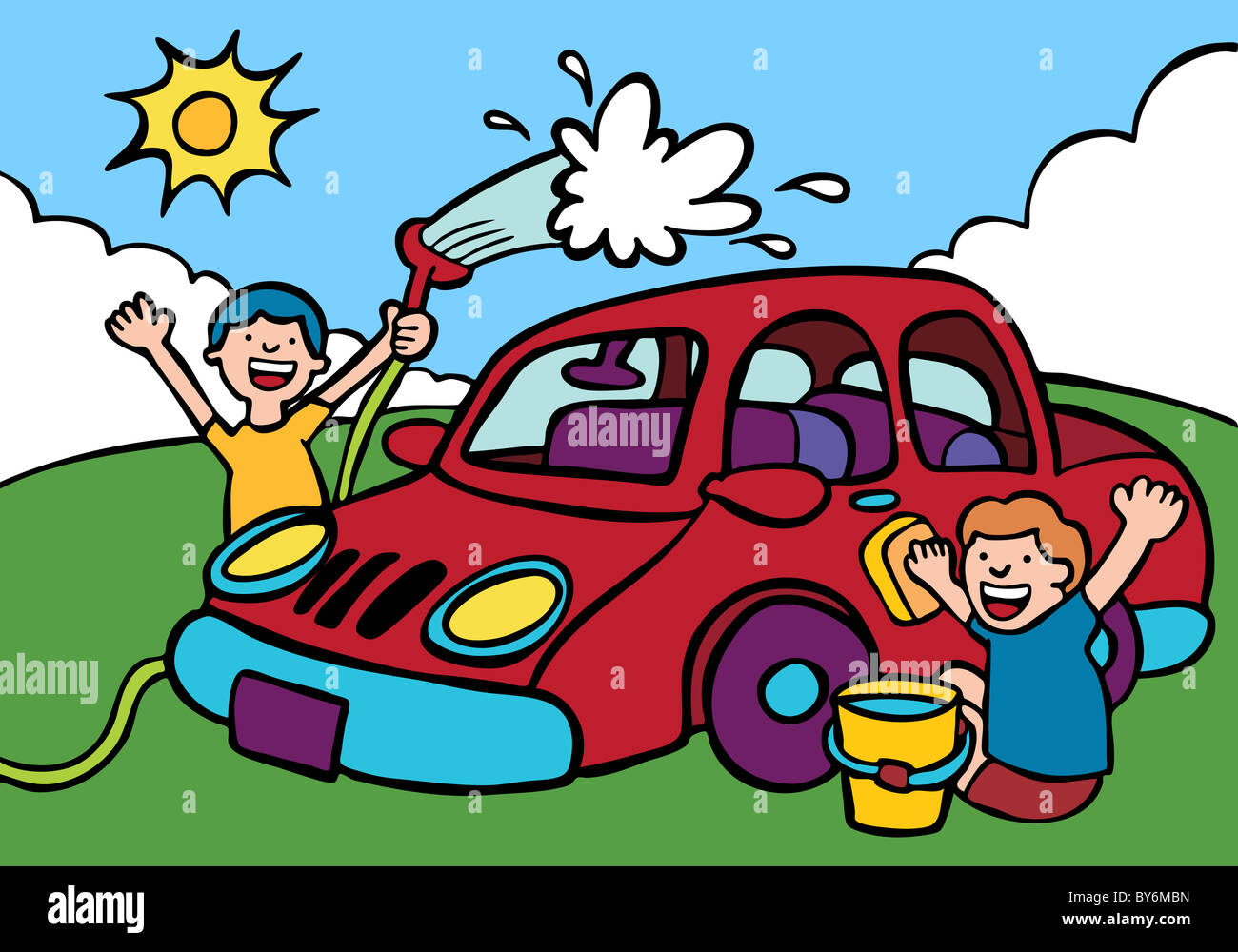 Cartoon Image Of Kids Washing Car Stock Photo 33953801 Alamy
