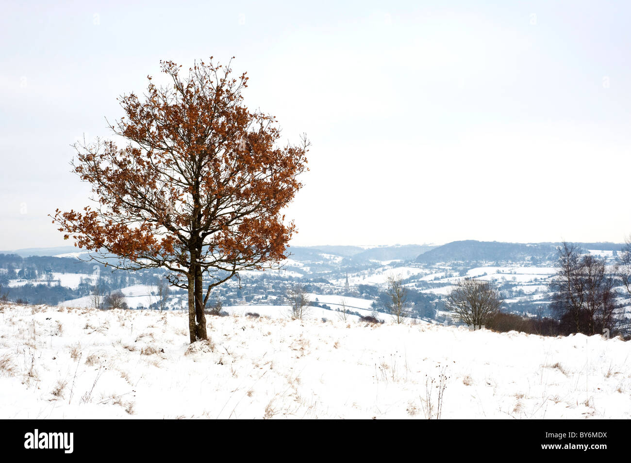 Snow covered view across the Painswick Valley near Edge, Gloucestershire, England, United Kingdom - Stock Image