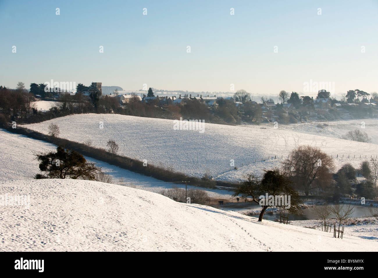 View towards Whiteshill from Ruscombe with winter snow, near Stroud, Gloucestershire, England, United Kingdom Stock Photo