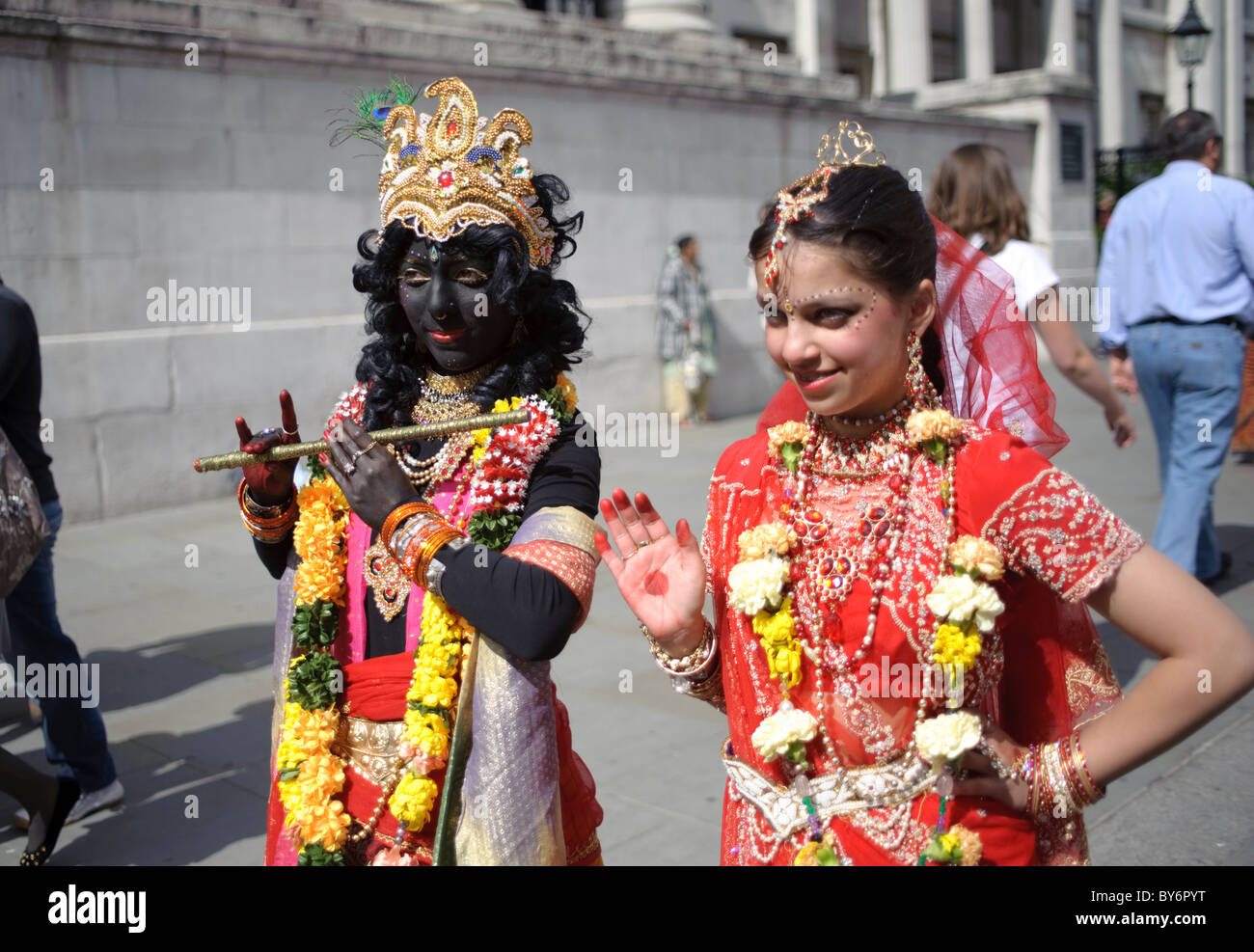 Young girls dressed as Indian Deities during Hindu Festival of Chariots,Trafalgar Square,London 2010 - Stock Image
