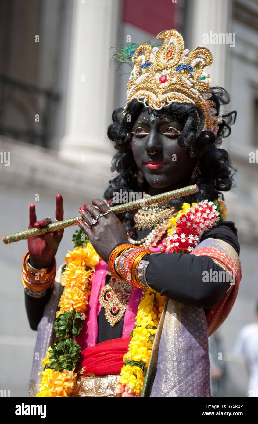 Young girl dressed as Indian Deity during Hindu Festival of Chariots,Trafalgar Square,London 2010 - Stock Image