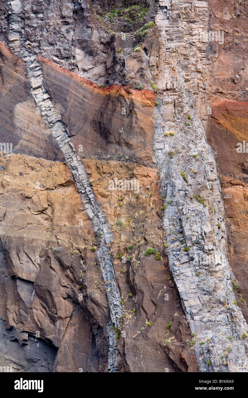 Cliff face in volcanic rocks showing dike formation, Madeira - Stock Image