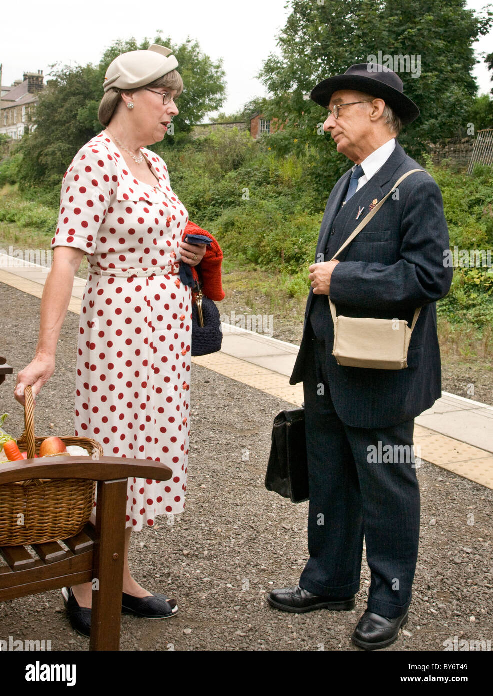 Participants in the 1940's re-enactment weekend at Leyburn, North Yorkshire. Photographed on Leyburn Railway - Stock Image