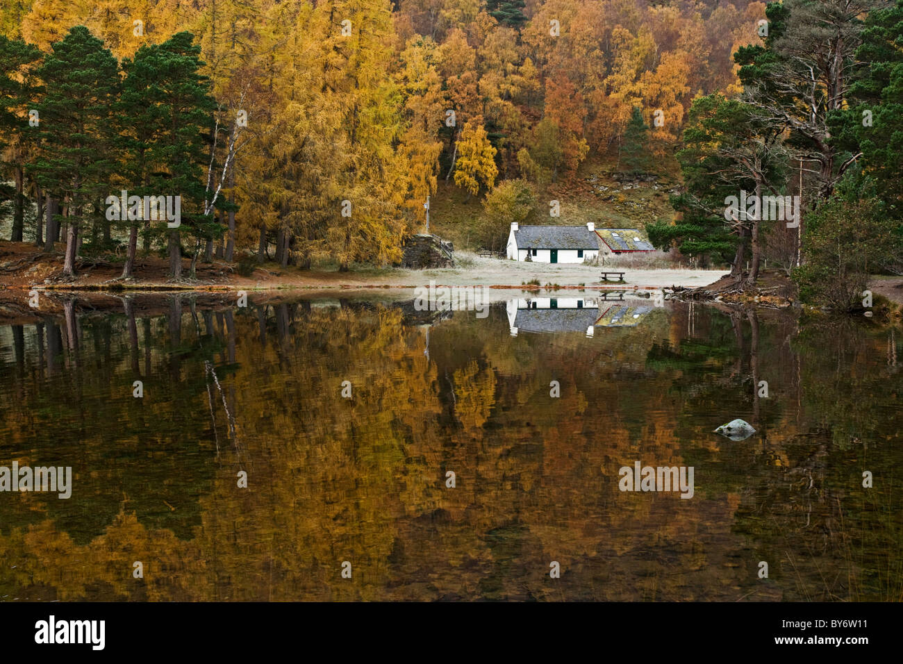 The visitor centre at Loch an Eilein, near Aviemore in the Cairngorms National Park. Part of the Rothiemurchus Estate. - Stock Image