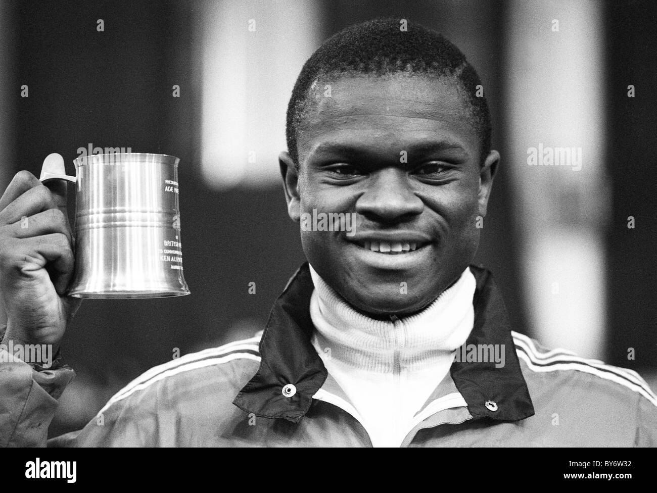 English sprinter Ade Mafe at Cosford Athletics 1984 - Stock Image