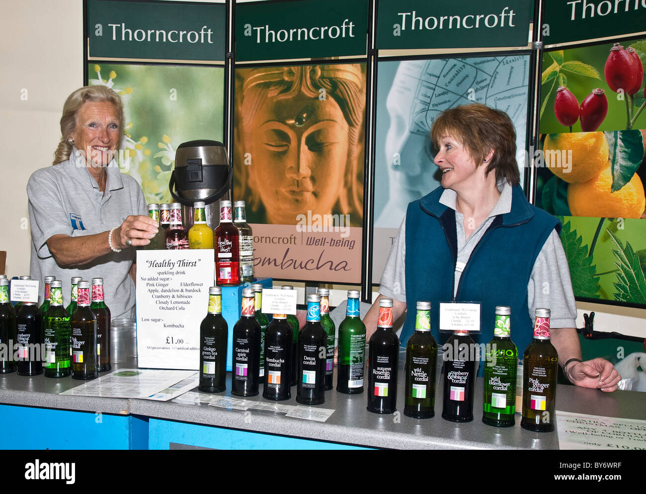 Thorncroft Cordials exhibit at the annual Festival of Food and Drink at Leyburn, North Yorkshire - Stock Image
