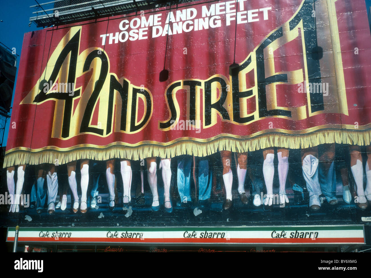 A billboard advertising the Broadway musical 42nd Street is seen in Times Square in New York in March, 1986 - Stock Image