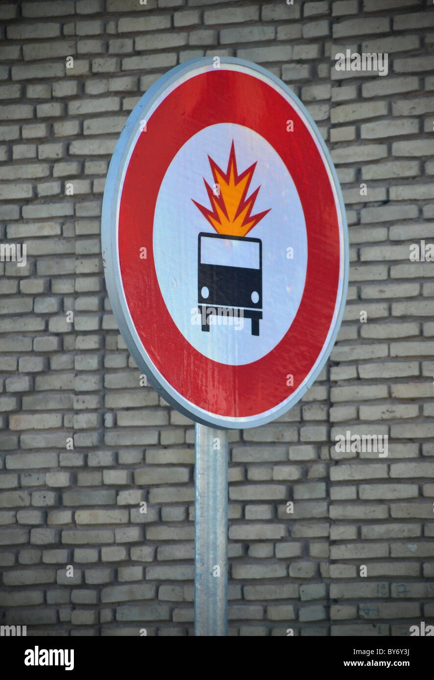 Odd roadsign sign in Tunisia - Stock Image