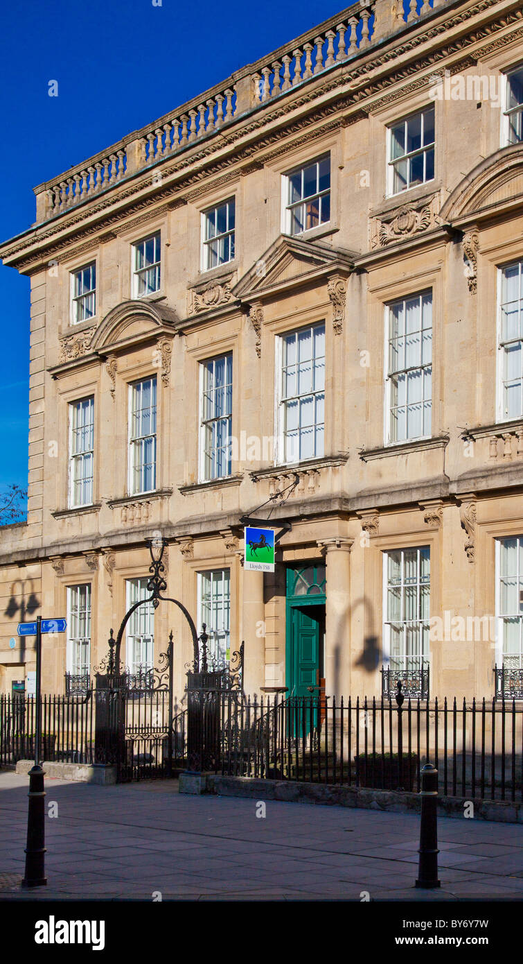 The Georgian facade of Lloyds TSB in the typical provincial English country town of Trowbridge, Wiltshire, England, - Stock Image