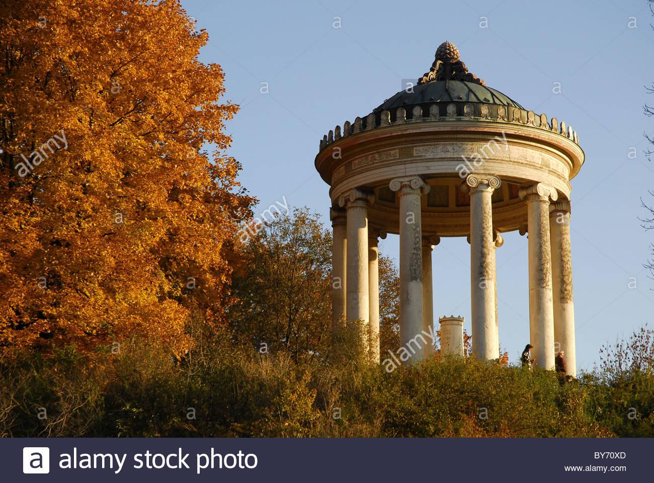 Monopteros Temple In The Englischer Garten Park In Autumn Munich