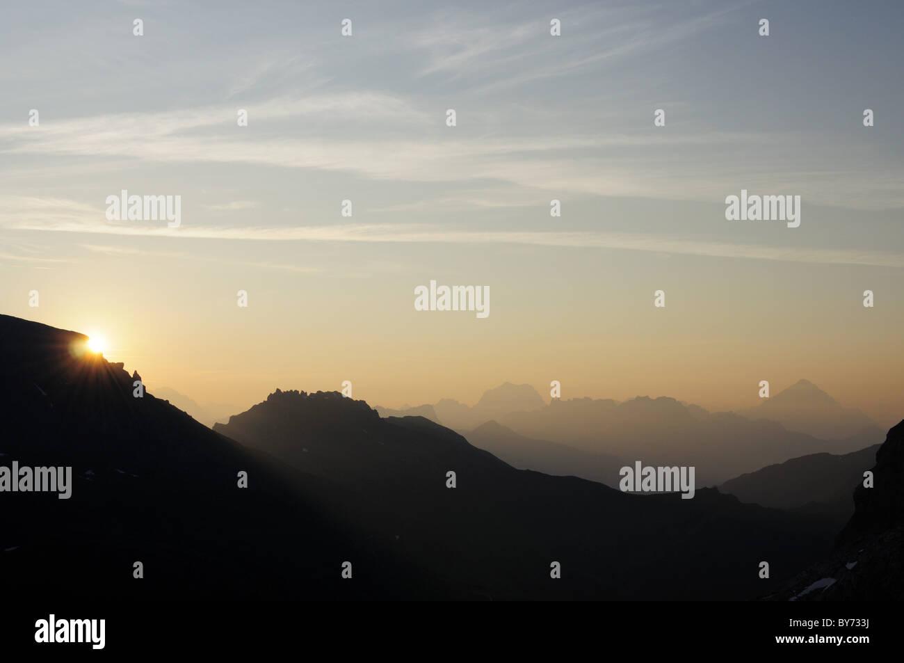 Sunrise over the Dolomites seen from Marmolada, Marmolada, Dolomites, UNESCO World Heritage Site Dolomites, Trentino, Stock Photo