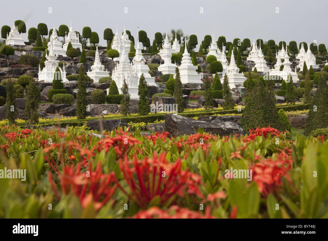 Buddhistic stupas at Nong Nooch tropical botanical garden near P ...