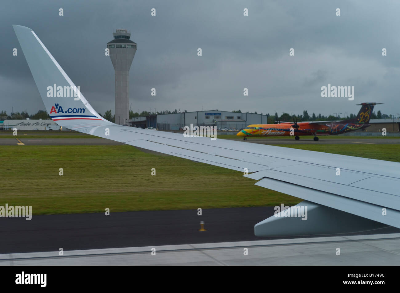 Airliners at takeoff, Seattle, Washington, USA - Stock Image