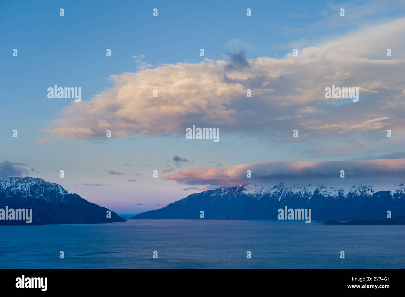 Sunset, Lago General Carrera, Aysen, Patagonia, Chile - Stock Image