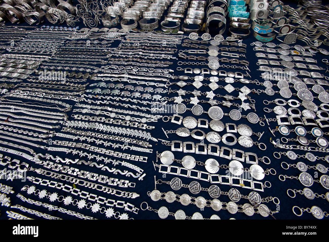 Silver Jewelry Vendor at Chichen Itza, Mexico - Stock Image