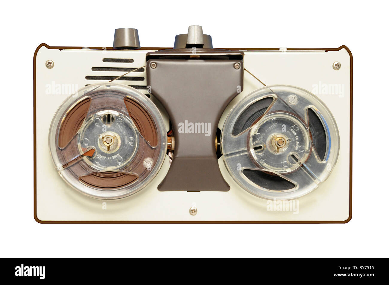 Vintage reel-to-reel tape recorder circa 1967, AIWA brand, made in Japan. Brandname has been removed from photo. - Stock Image