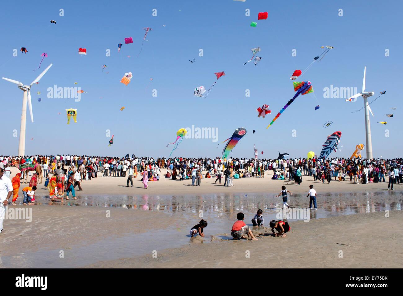 Kite festival in Gujarat beach - Stock Image