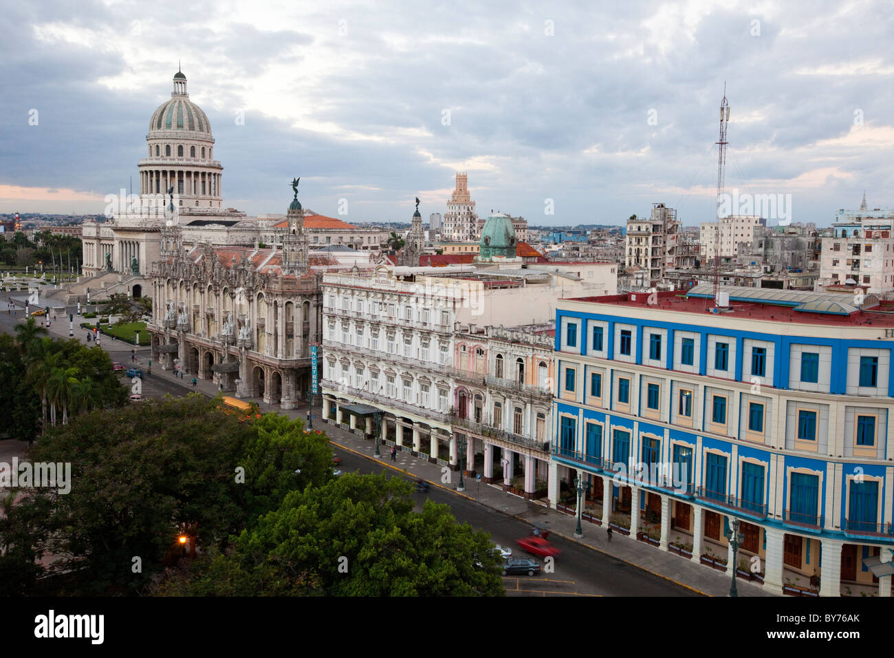 Cuba, Havana. Paseo de Marti. Hotel Telegrafo, Hotel Inglaterra, National Theater, Capitol, from right foreground - Stock Image