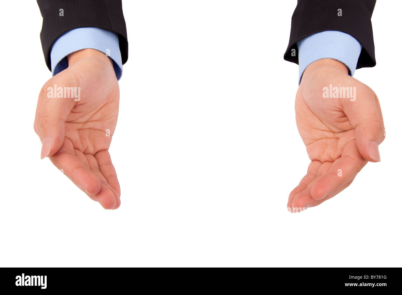 Businessman 's hand holding something and isolated on white background - Stock Image