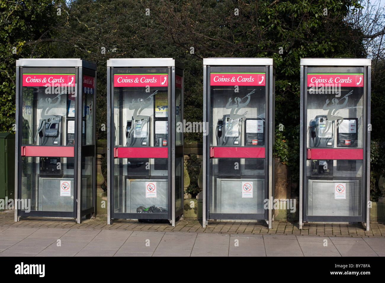 A row of New Telephone Boxes - Stock Image