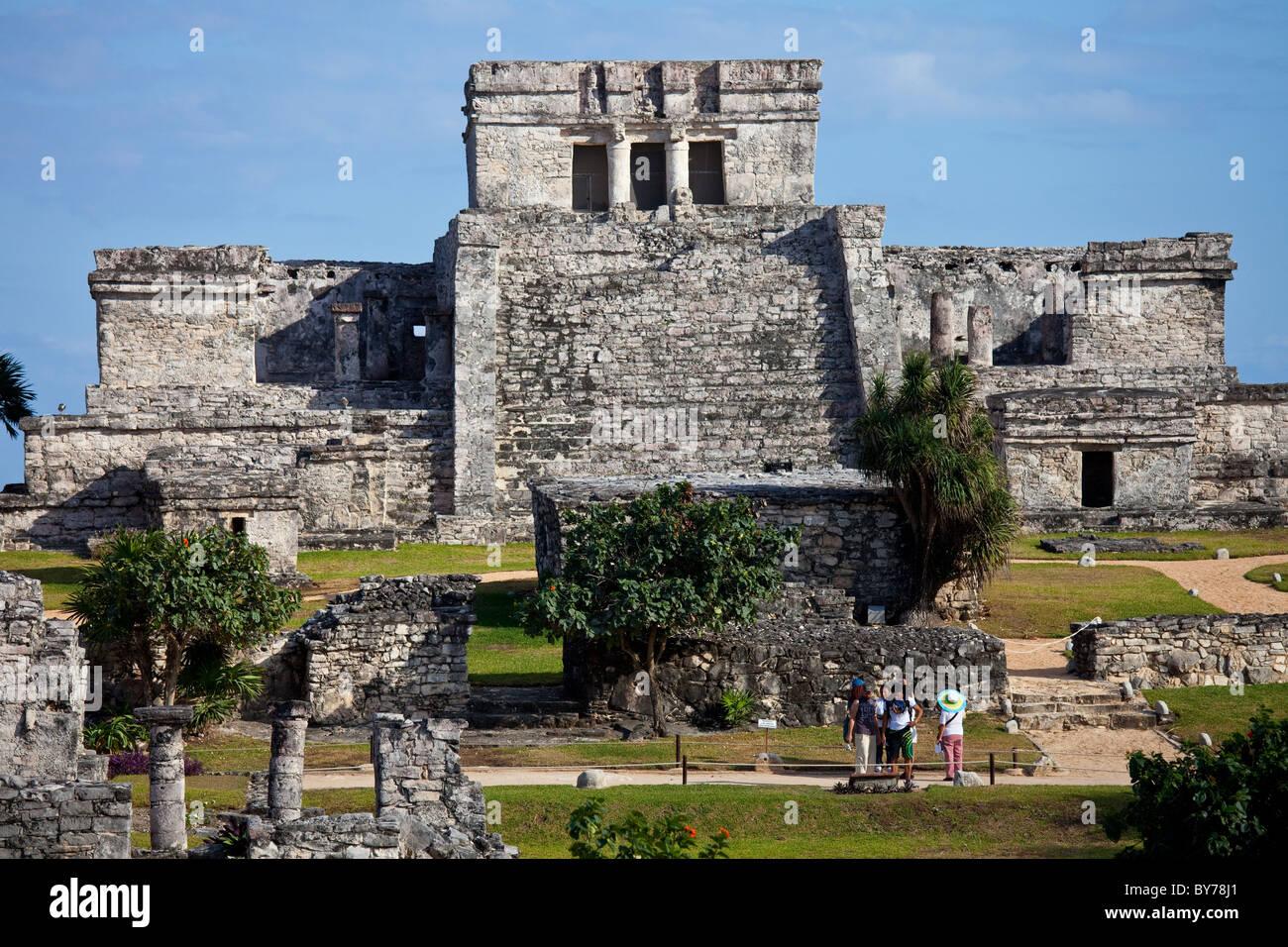 El Castillo, Tulum, Mayan ruins on the Yucatan Peninsula, Mexico - Stock Image