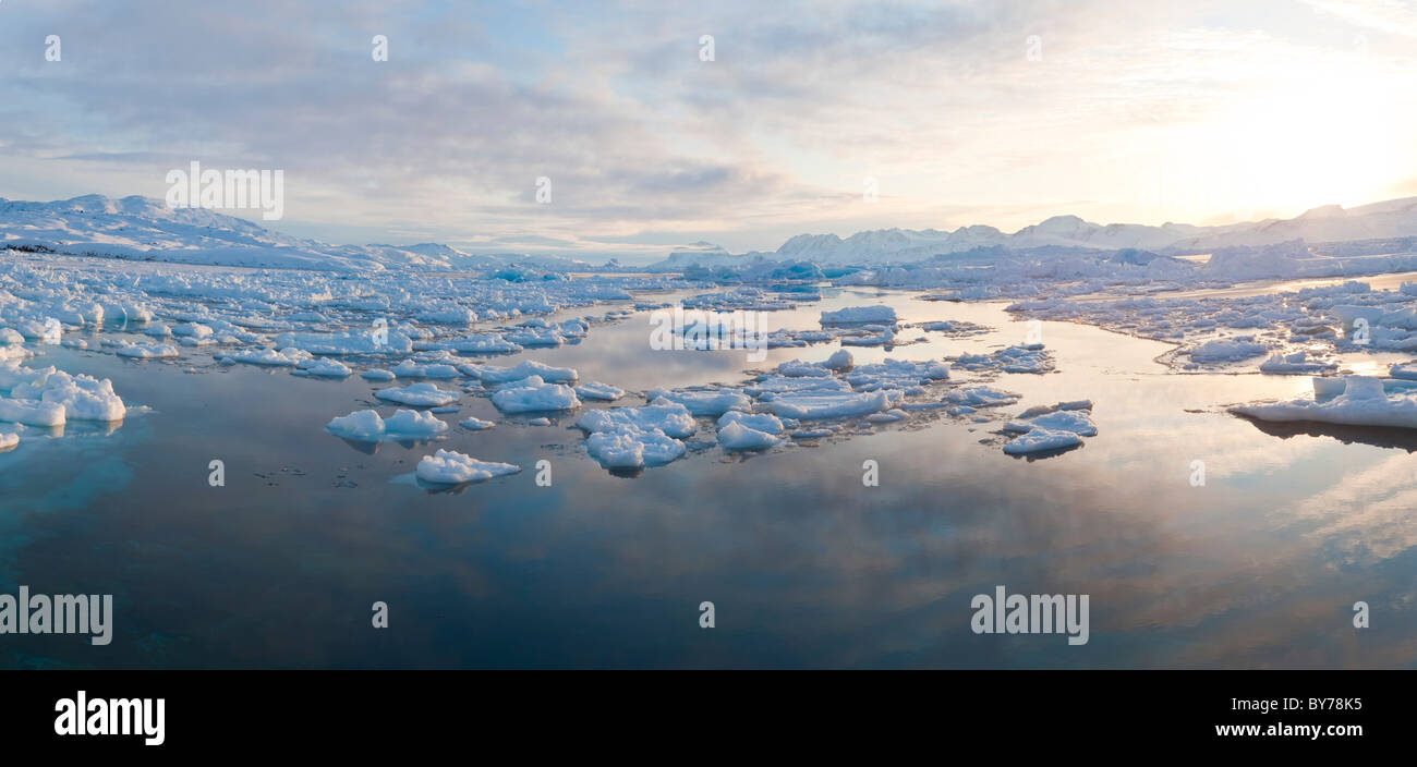 Tiniteqilaq and sea ice in winter, E. Greenland - Stock Image