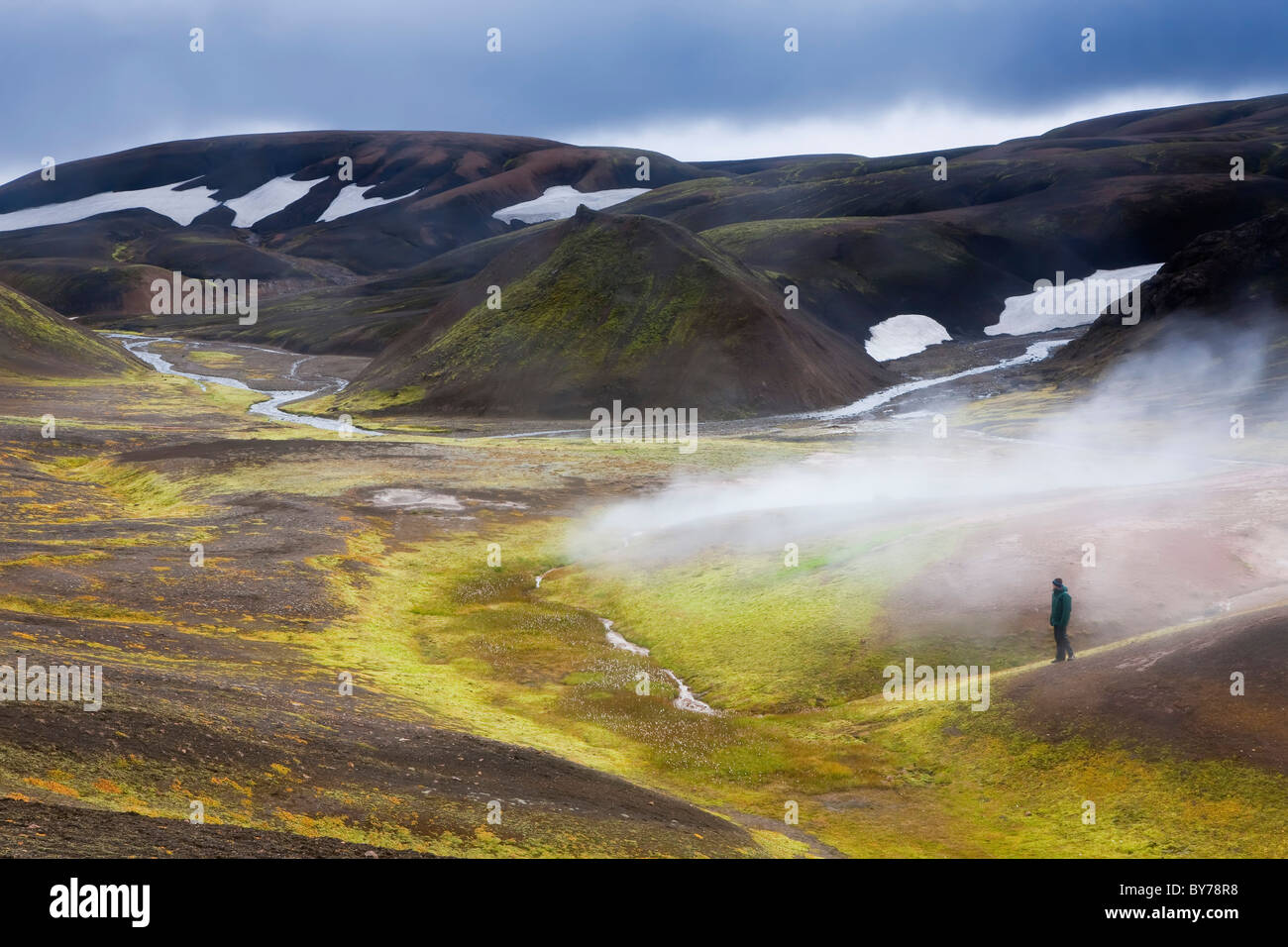 Steam vents, Rhiolite Mountains, Landmannalaugar, Iceland - Stock Image