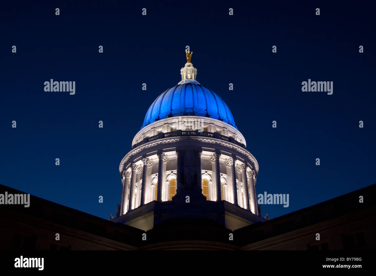 Wisconsin State Capital in Madison in Blue to raise awareness for the prevention of child abuse and neglect - Stock Image