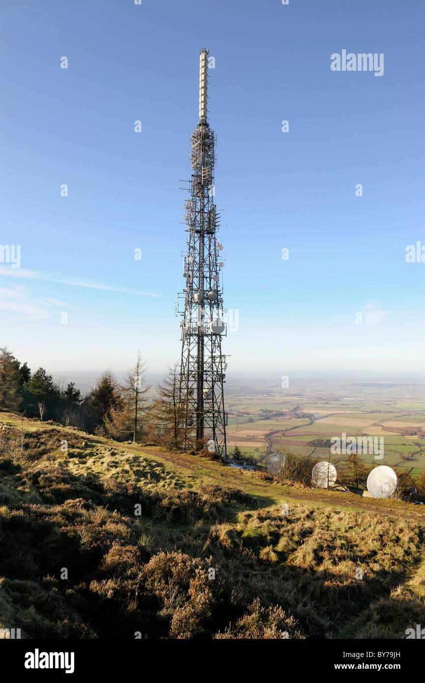 TV mast, on The Wrekin hill, Shropshire - Stock Image