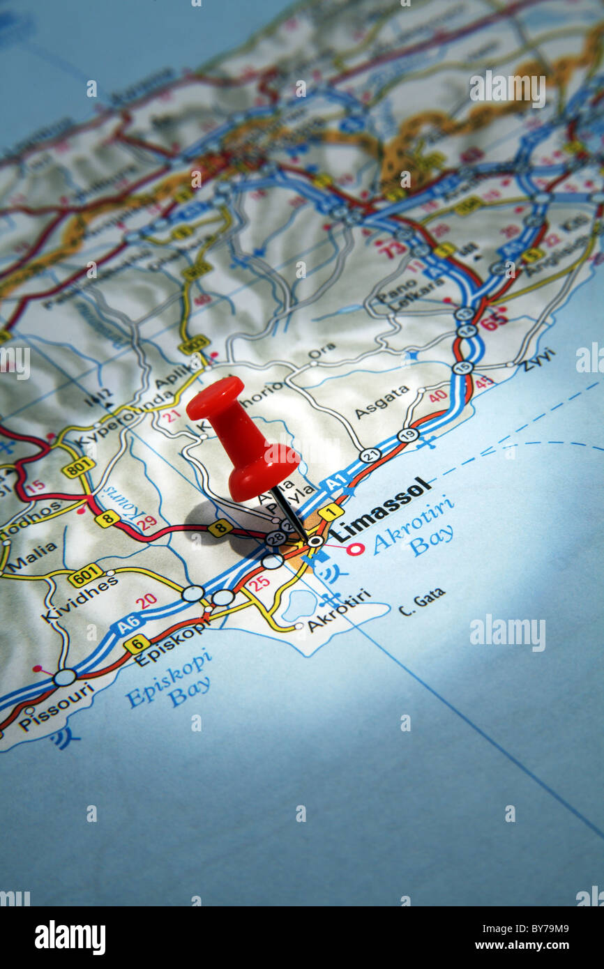 Map Pin pointing to the City of Limassol Cyprus on a road map Stock
