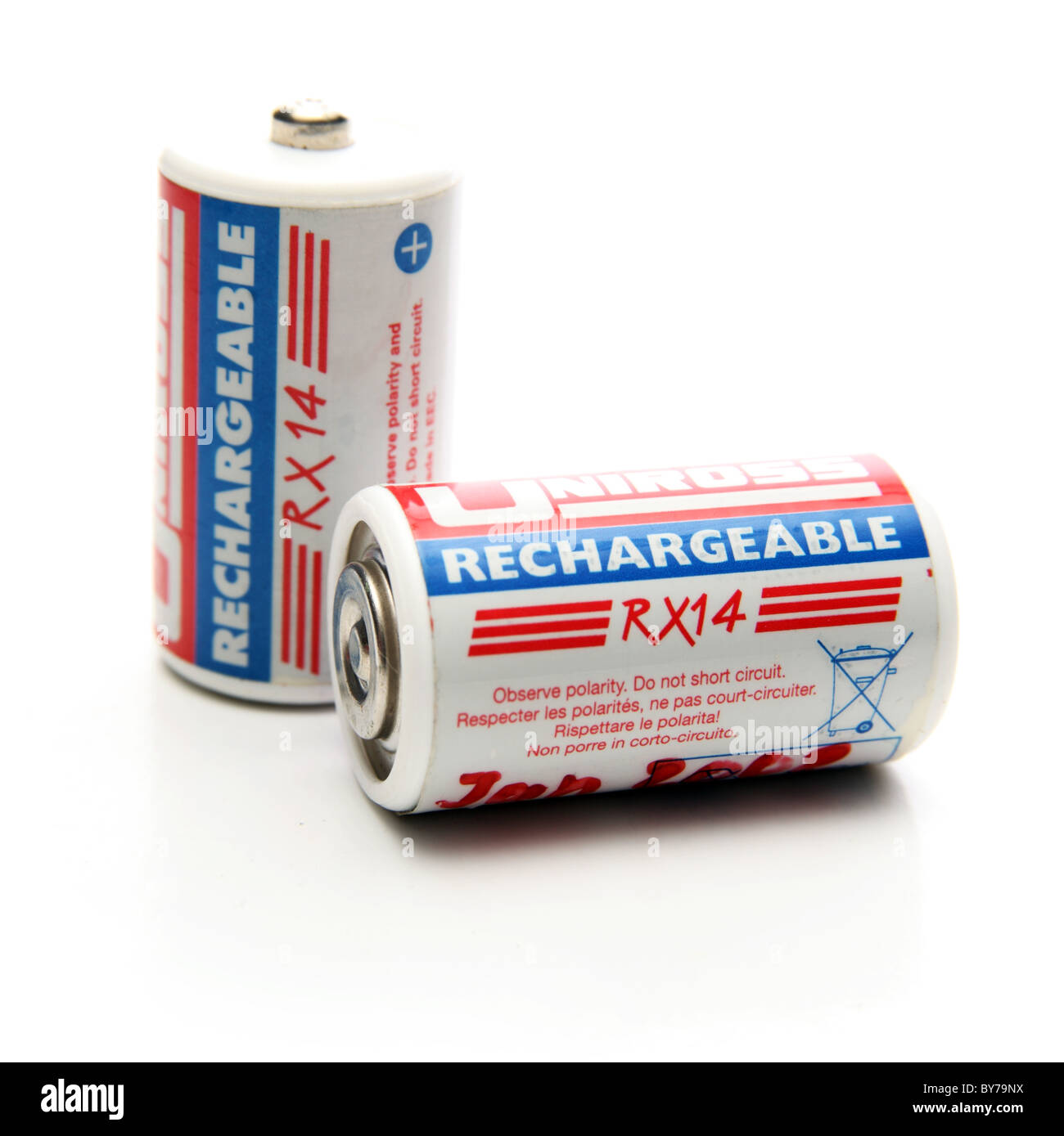 RX14 Rechargeable Batteries on White Background - Stock Image