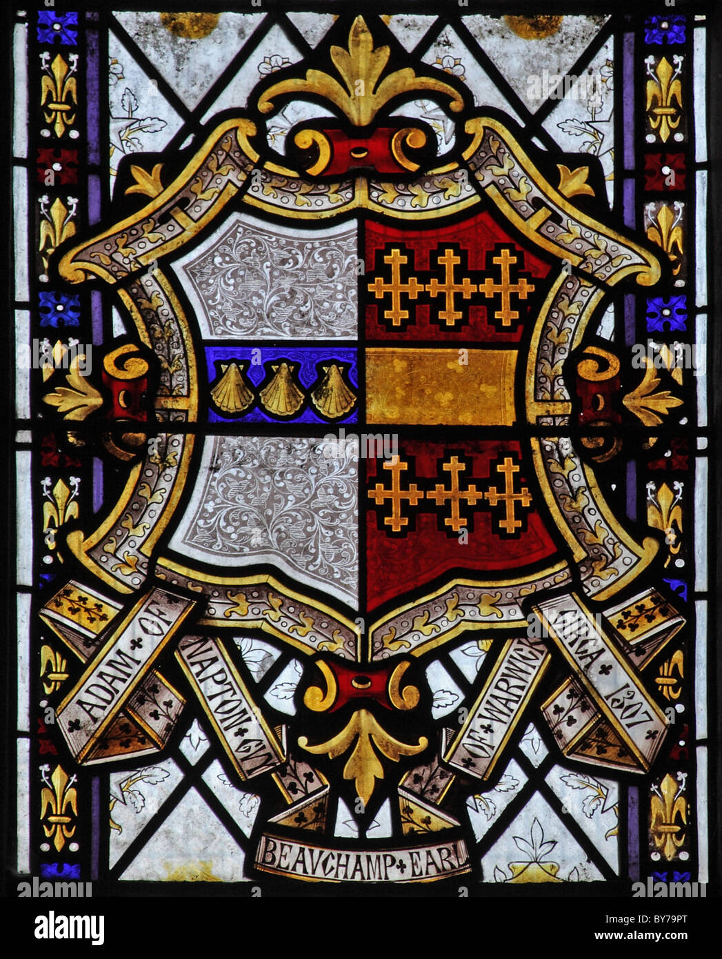 A stained glass window depicting Heraldic Glass, Parish Church of St Laurence, Napton, Warwickshire - Stock Image