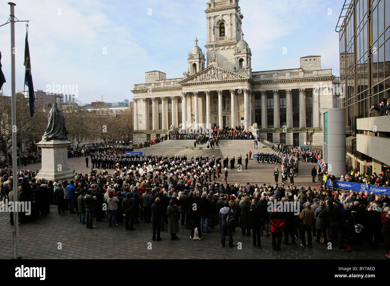 Ark Royal famous aircraft carrier decommissioning parade on Guildhall Square Portsmouth England UK Saturday 22 January - Stock Image