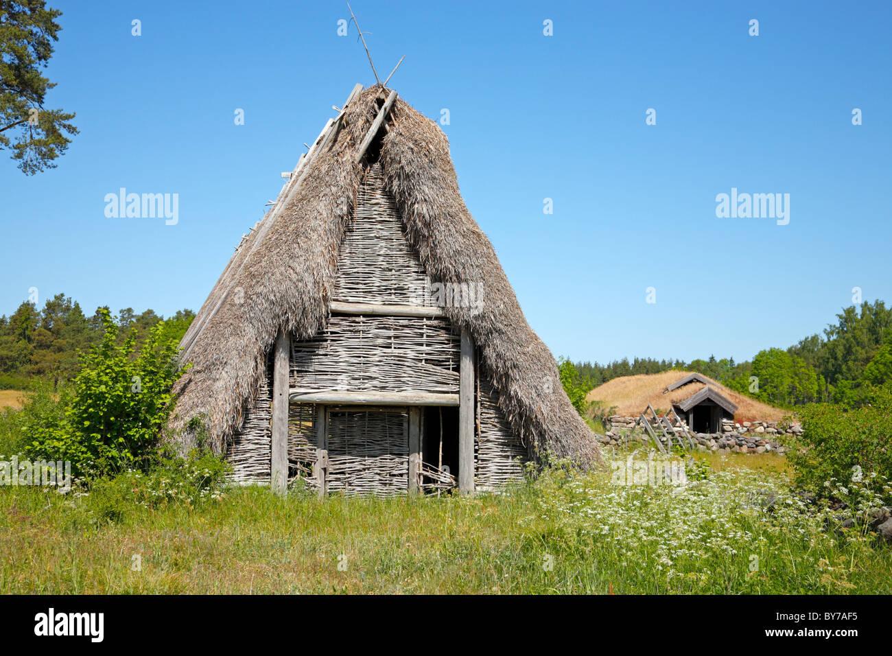 Ancient barn and stable with thatched and grass roof on the Swedish island Gotland - Stock Image