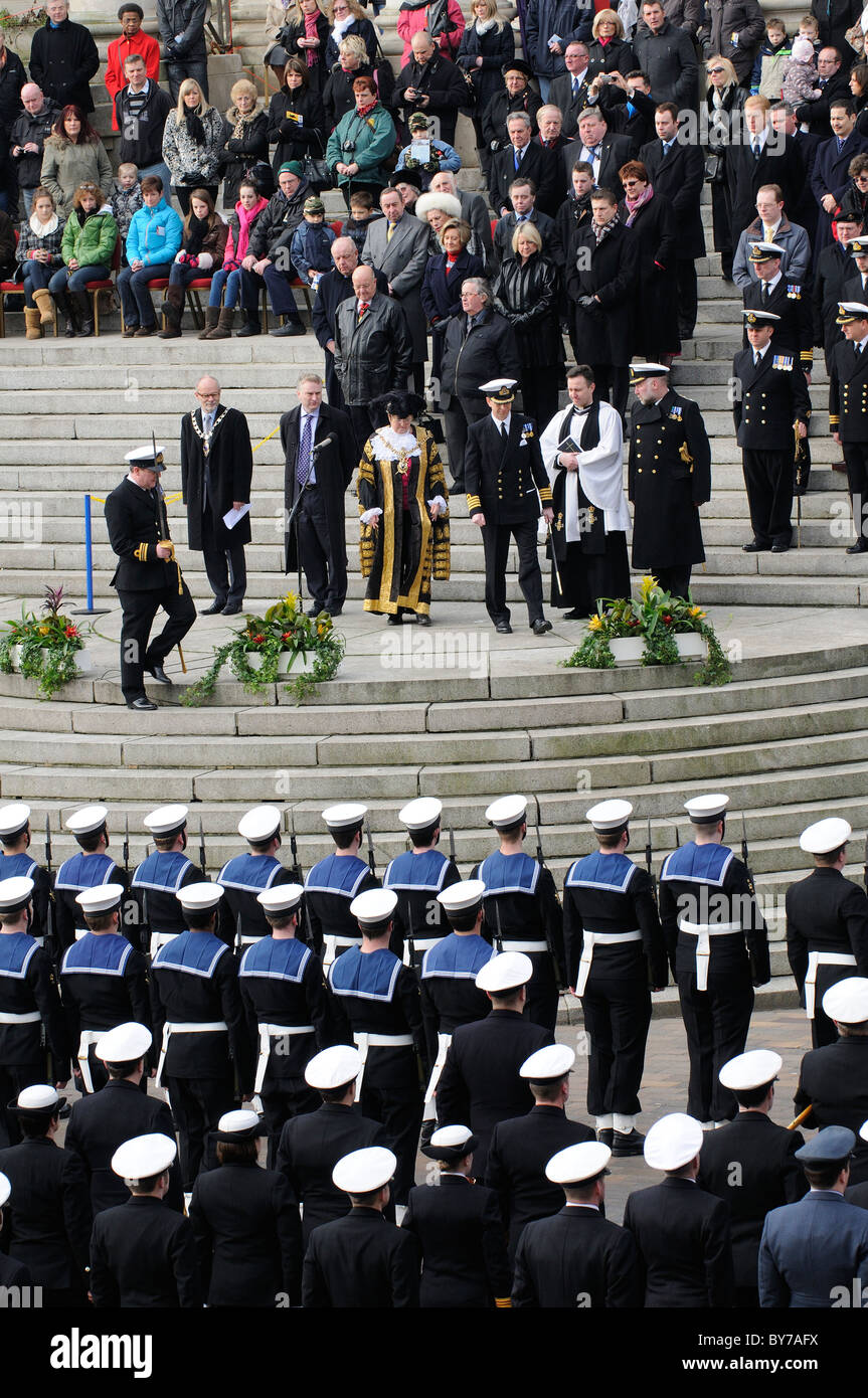 Ark Royal famous aircraft carrier decommissioning parade on Guildhall Square Portsmouth England UK - Stock Image