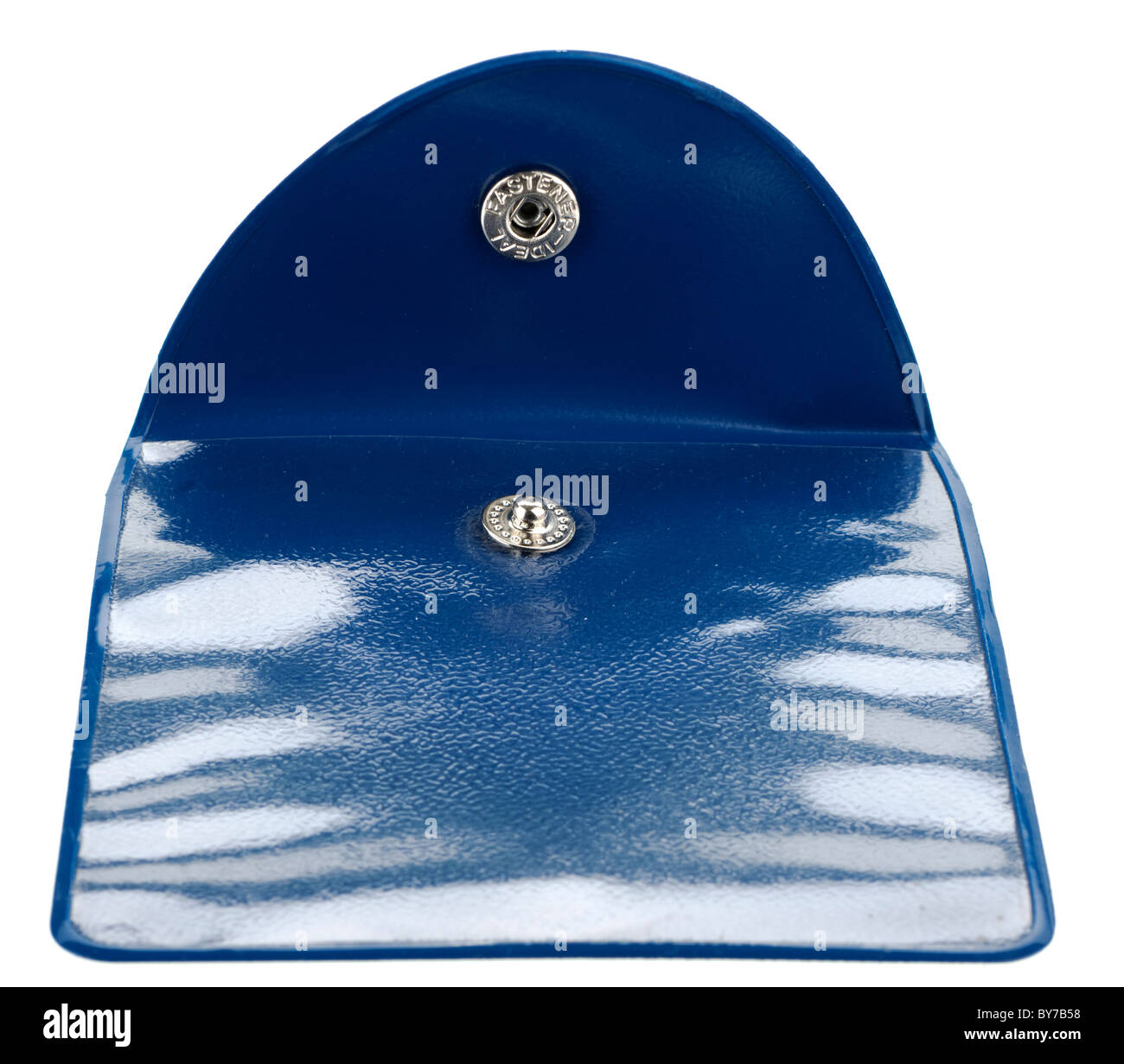 Small blue plastic see through flip top press stud wallet - Stock Image