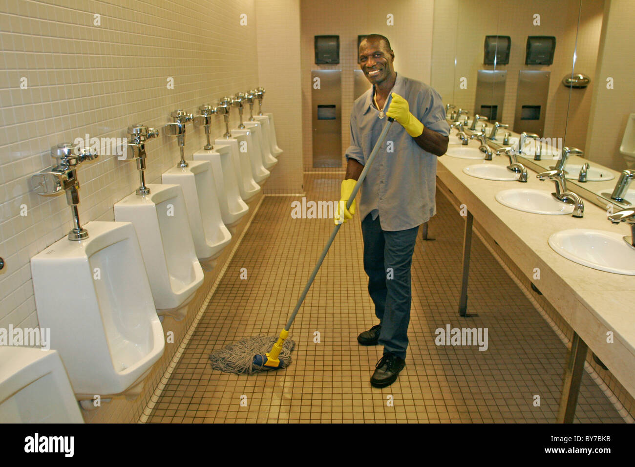 Janitor cleaning mens room stock photo 33968911 alamy for Bathroom cleaning images