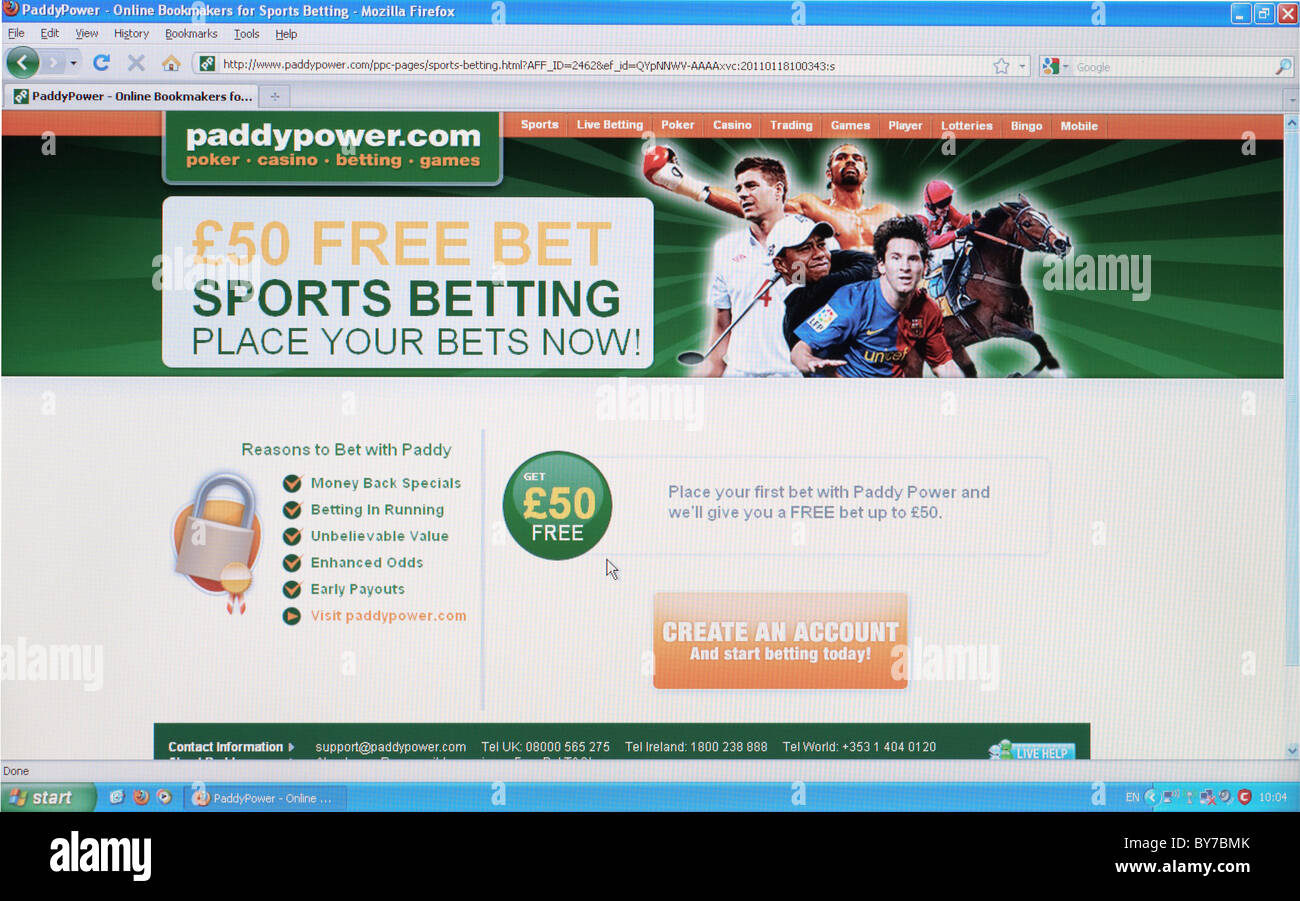 Full screen shot of Paddypower.com home page online sports betting webpage - Stock Image