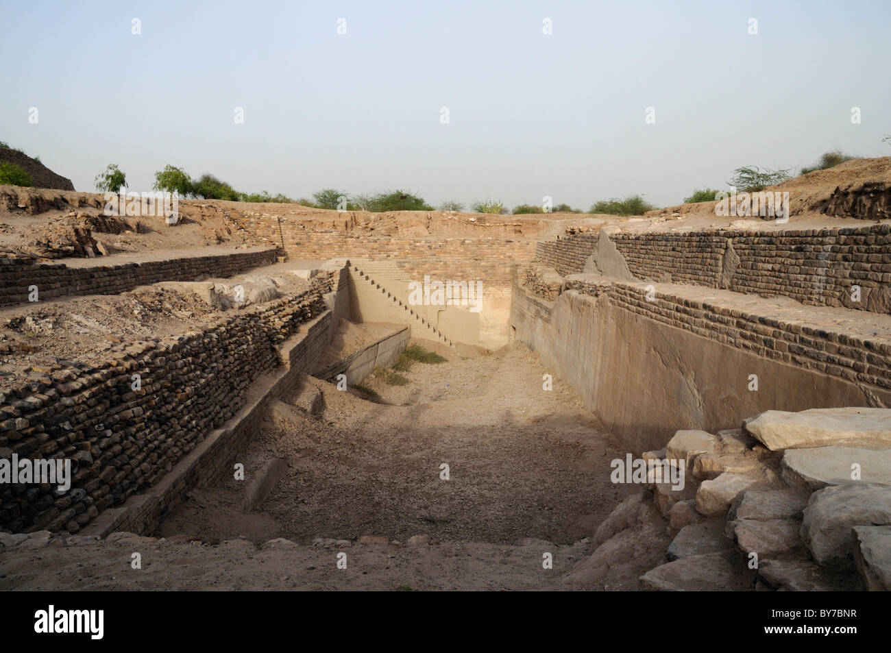 Dholavira, an ancient city, is one of the largest archaeological sites in India, belonging to the Indus Valley Civilization. - Stock Image