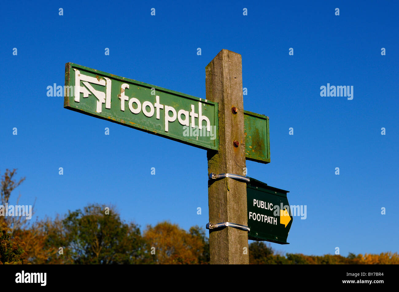 Public footpath sign, England - Stock Image
